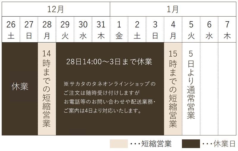 12月28日14時から1月3日まで休業、1月4日は15時までの短縮営業です。